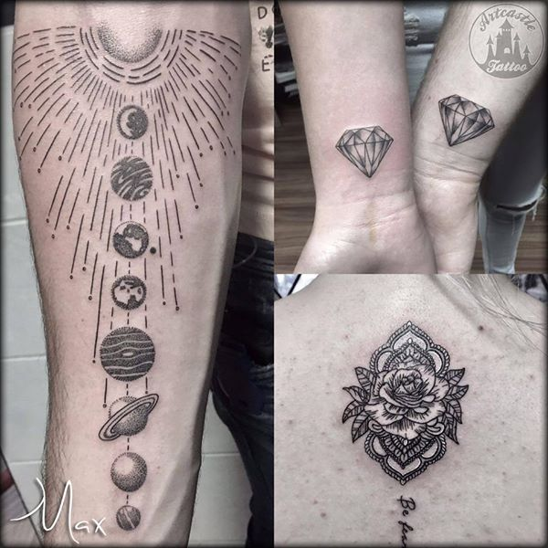 ArtCastleTattoo Tattoo ArtiestMax Solar system tattoo with lots of detail realistic diamond tattoo and a mandala tattoo Black n Grey