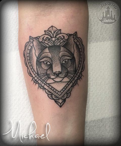 ArtCastleTattoo Tattoo ArtiestMichael Black n Grey cat portrait tattoo lower arm Old School