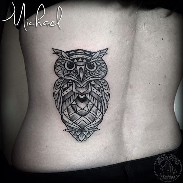 ArtCastleTattoo Tattoo ArtiestMichael Blackwork owl with mandala and geometric designs Geometric