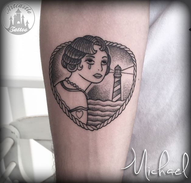 ArtCastleTattoo Tattoo ArtiestMichael Crying woman and lighthouse on lower arm. Traditioneel Traditional