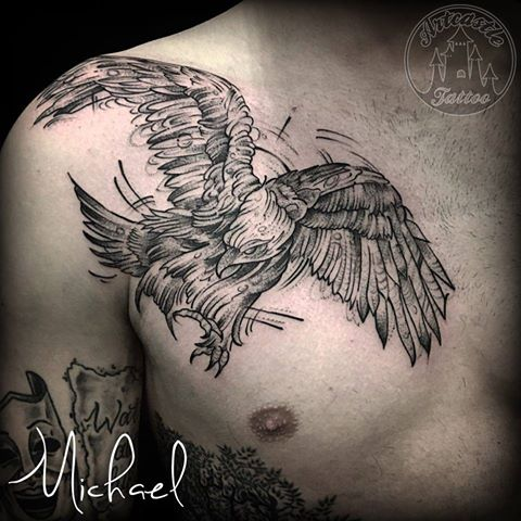 ArtCastleTattoo Tattoo ArtiestMichael Eagle bird tattoo in sketch style on chest black n grey Blackwork