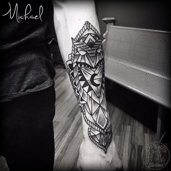 ArtCastleTattoo Tattoo ArtiestMichael Geometric owl tattoo black n grey lower arm Geometric