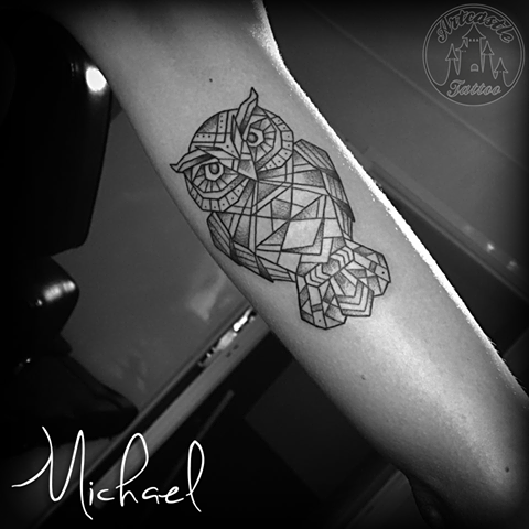 ArtCastleTattoo Tattoo ArtiestMichael Geometrical owl tattoo black n grey on inside arm Geometric