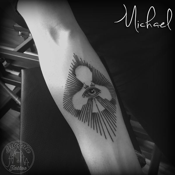 ArtCastleTattoo Tattoo ArtiestMichael Lines and all seeing eye tattoo with silhouette lower arm Blackwork