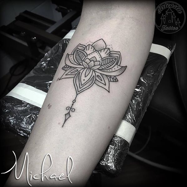 ArtCastleTattoo Tattoo ArtiestMichael Mandala lotus tattoo black n grey dotwork on the underarm Mandala