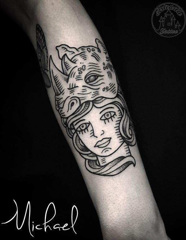 ArtCastleTattoo Tattoo ArtiestMichael Old school portrait of a girl with a rhino linework tattoo minimalistic Old School