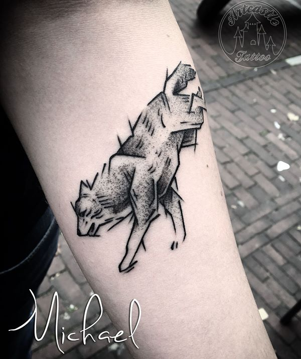 ArtCastleTattoo Tattoo ArtiestMichael Sketch wolf tattoo on under arm black n grey Blackwork