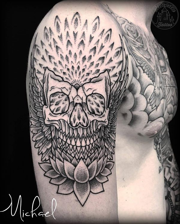 ArtCastleTattoo Tattoo ArtiestMichael Skull lotus and geometrical dotwork tattoo background Mandala