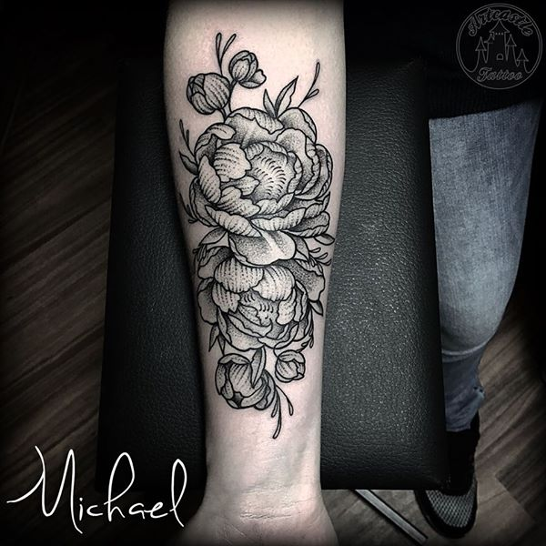 ArtCastleTattoo Tattoo ArtiestMichael Tattoo of Peonies in black n grey on lower arm Blackwork