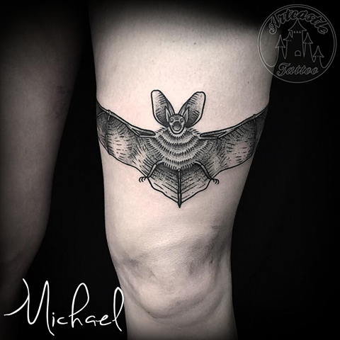 ArtCastleTattoo Tattoo ArtiestMichael Traditional Black n grey Bat tattoo upper leg Blackwork
