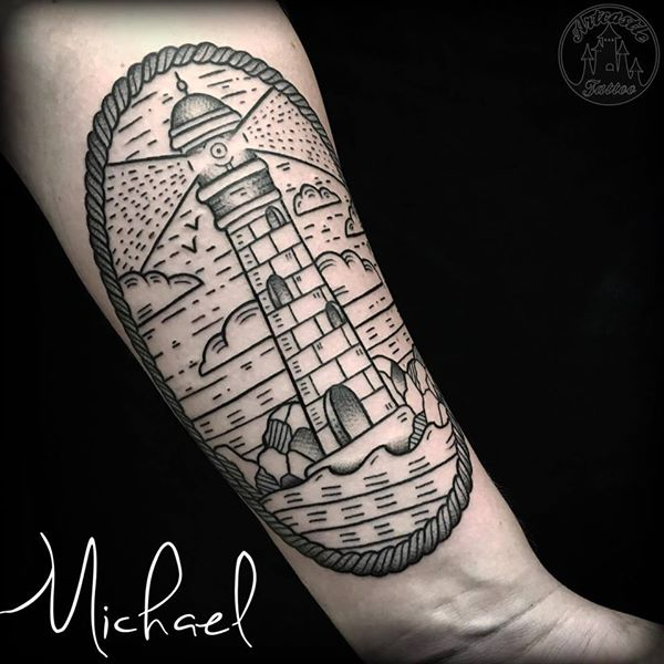 ArtCastleTattoo Tattoo ArtiestMichael Traditional Lighthouse linework tattoo on the underarm Old School