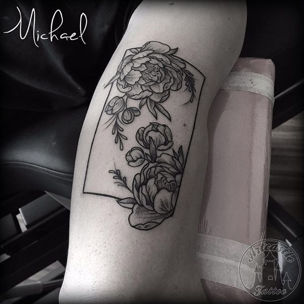 ArtCastleTattoo Tattoo ArtiestMichael Traditional flowers in rectangle frame tattoo black n grey on arm Geometric