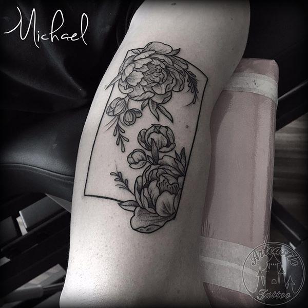 ArtCastleTattoo Tattoo ArtiestMichael Traditional flowers in rectangle frame tattoo black n grey on arm Geometric