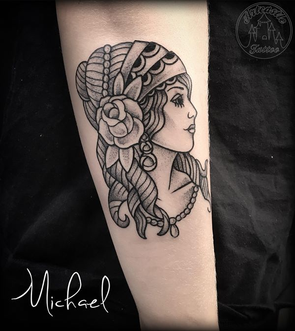 ArtCastleTattoo Tattoo ArtiestMichael Traditional gypsy woman portrait tattoo black n grey on arm Old School