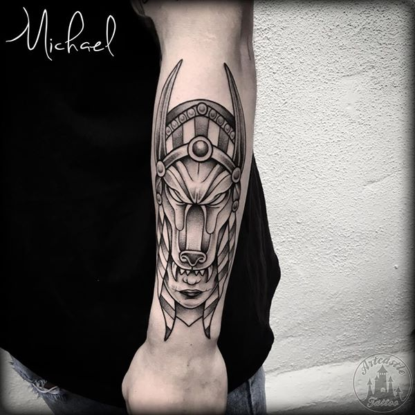 ArtCastleTattoo Tattoo ArtiestMichael Traditional old school Anubis head headress on lower arm Black n Grey