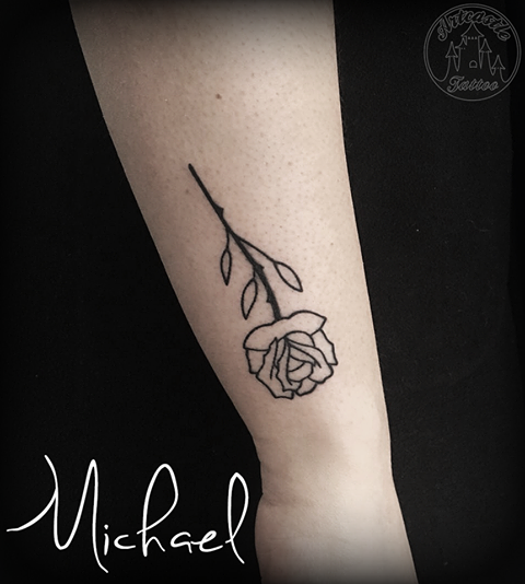ArtCastleTattoo Tattoo ArtiestMichael Traditional simple blackwork rose lower arm Old School