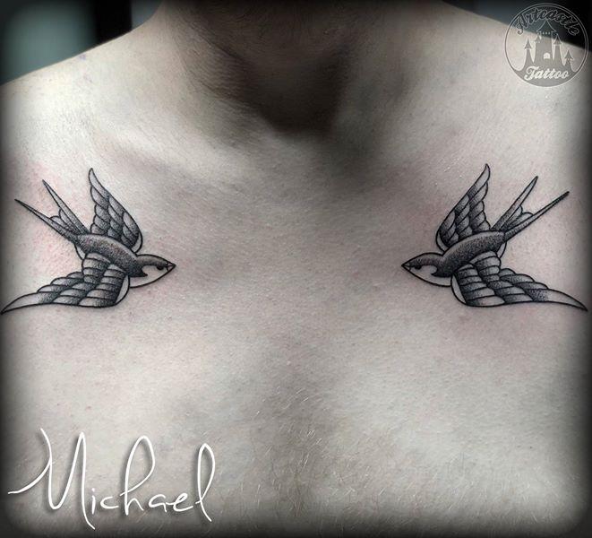 ArtCastleTattoo Tattoo ArtiestMichael swallows on chest Traditioneel Traditional