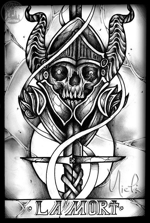 ArtCastleTattoo Tattoo ArtiestMick Tarot card skull with helmet Tekeningen Drawings