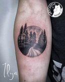 ArtCastleTattoo Tattoo ArtiestPrive Ilya trees and landscape on arm Blackwork