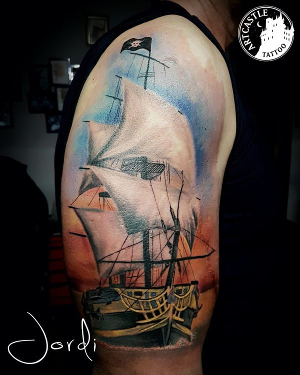 ArtCastleTattoo Tattoo ArtiestPrive Jordi Ship on water Color