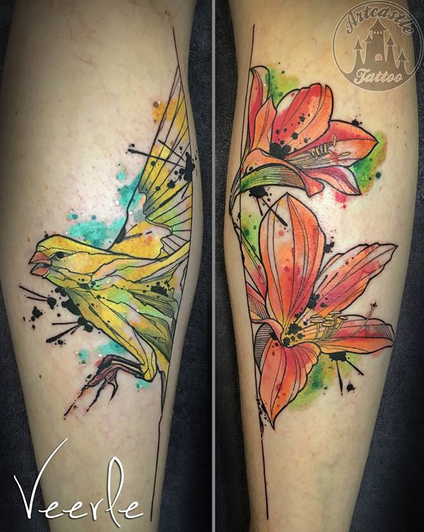 ArtCastleTattoo Tattoo ArtiestVeerle Birds and flowers with water color effects Color