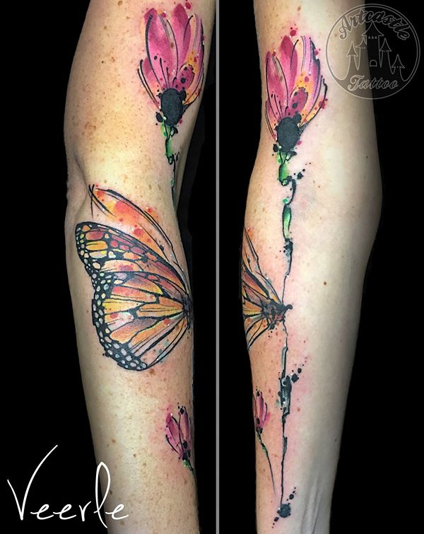 ArtCastleTattoo Tattoo ArtiestVeerle Butterfly and flower with water color elements Color