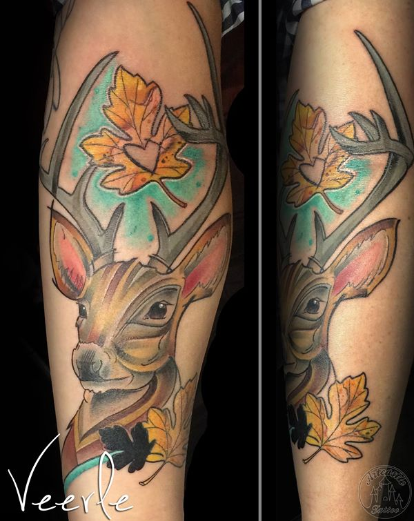 ArtCastleTattoo Tattoo ArtiestVeerle Deer Color