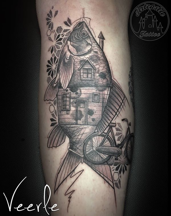 ArtCastleTattoo Tattoo ArtiestVeerle Fish with house and bike Black n Grey