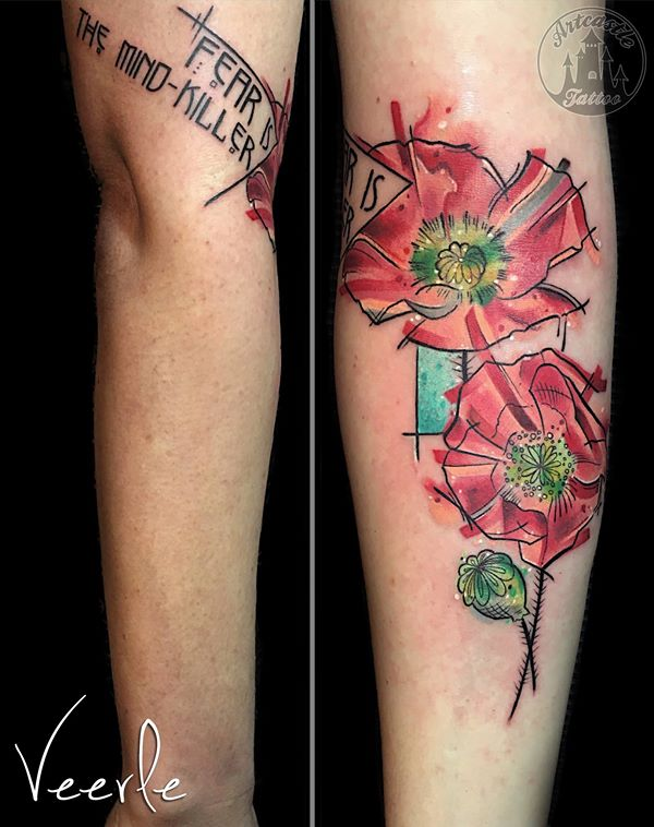 ArtCastleTattoo Tattoo ArtiestVeerle Flowers with paint like color splashes Color