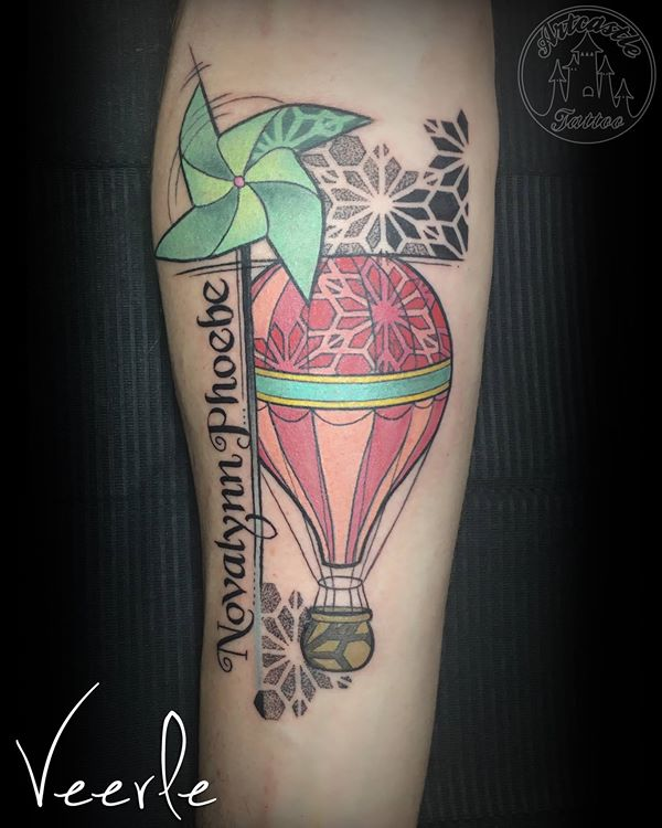ArtCastleTattoo Tattoo ArtiestVeerle Hot air balloon with a windmill and lettering Color