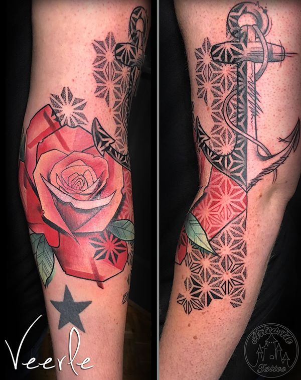 ArtCastleTattoo Tattoo ArtiestVeerle Rose with Anchor and geometrical elements Color
