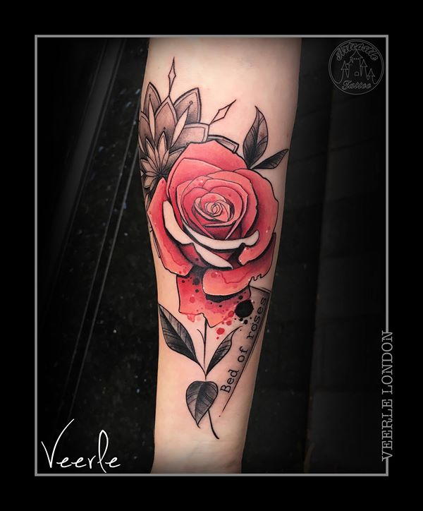 ArtCastleTattoo Tattoo ArtiestVeerle Rose with black n grey mandala and watercolor drops and small lettering Color
