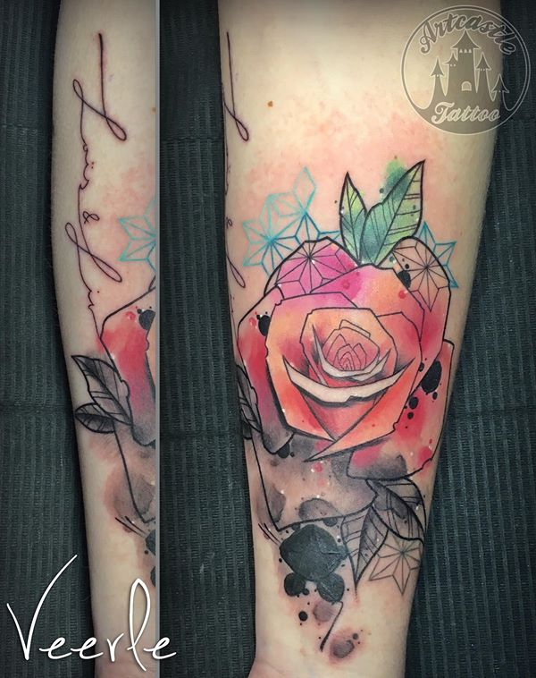 ArtCastleTattoo Tattoo ArtiestVeerle Rose with geometrical and watercolor elements Color