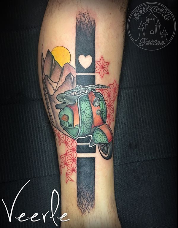 ArtCastleTattoo Tattoo ArtiestVeerle Scooter with mountains and geometrical elements Color