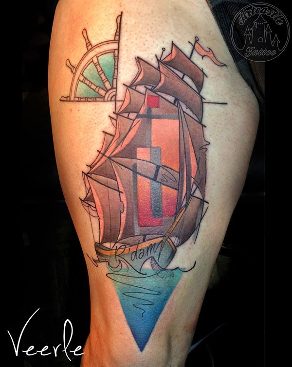 ArtCastleTattoo Tattoo ArtiestVeerle Ship Rotterdam Color
