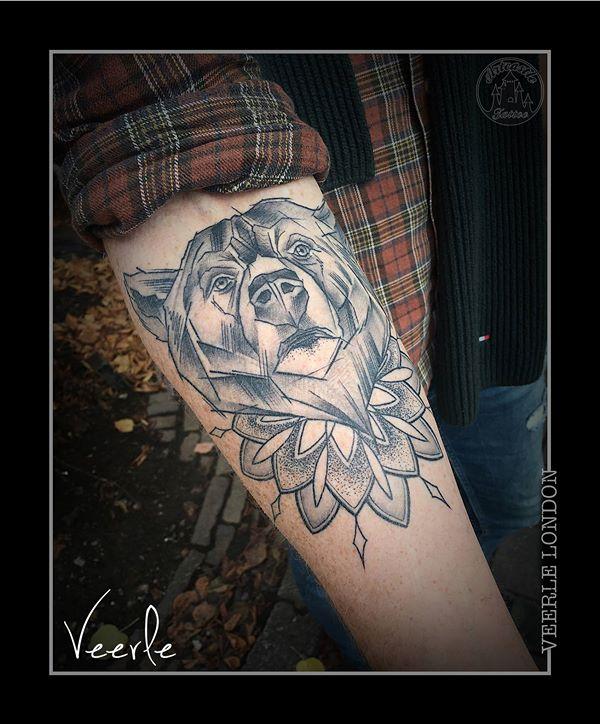 ArtCastleTattoo Tattoo ArtiestVeerle Sketch style bear with mandala and dotwork on lower arm Black n Grey