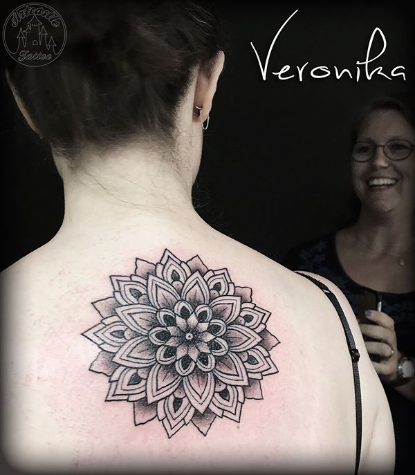 ArtCastleTattoo Tattoo ArtiestVeronika Black n grey mandala on back Mandala Mandala