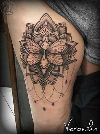 ArtCastleTattoo Tattoo ArtiestVeronika Black n grey mandala with butterfly and lots of details on upper leg Mandala