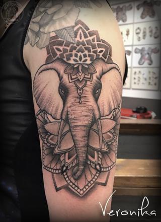 ArtCastleTattoo Tattoo ArtiestVeronika Elephant mandala design in black n grey Mandala