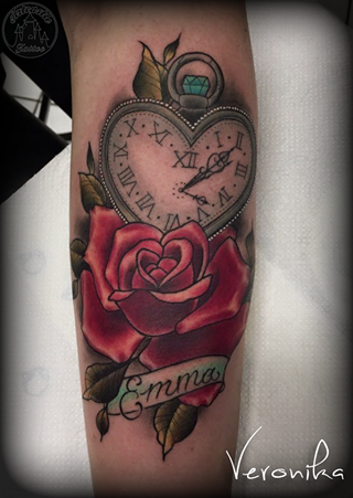 ArtCastleTattoo Tattoo ArtiestVeronika Rose and pocketwatch in the shape of a heart with name in color Neo Traditional