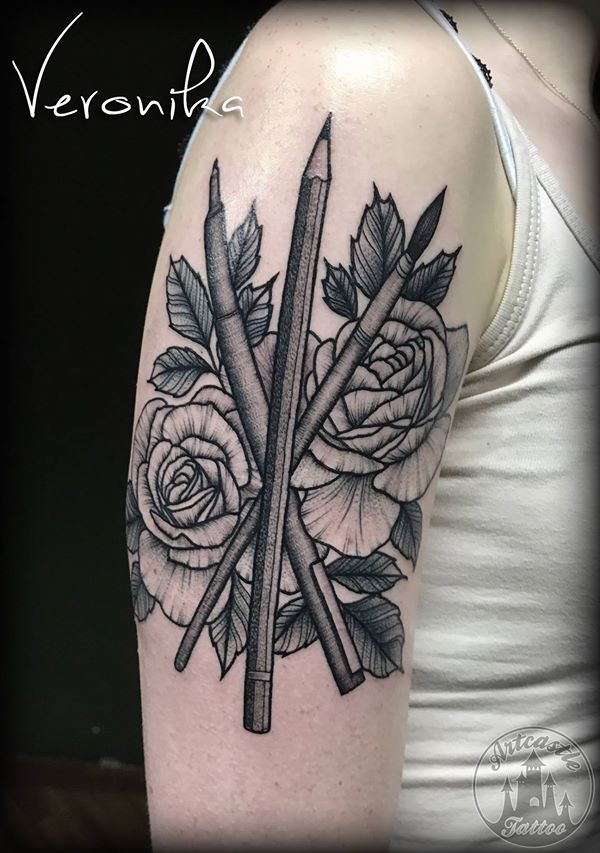ArtCastleTattoo Tattoo ArtiestVeronika Roses with drawing tools. Black n grey Black n grey