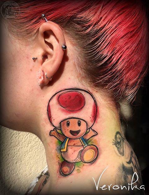 ArtCastleTattoo Tattoo ArtiestVeronika Toad from Super Mario in watercolor Color