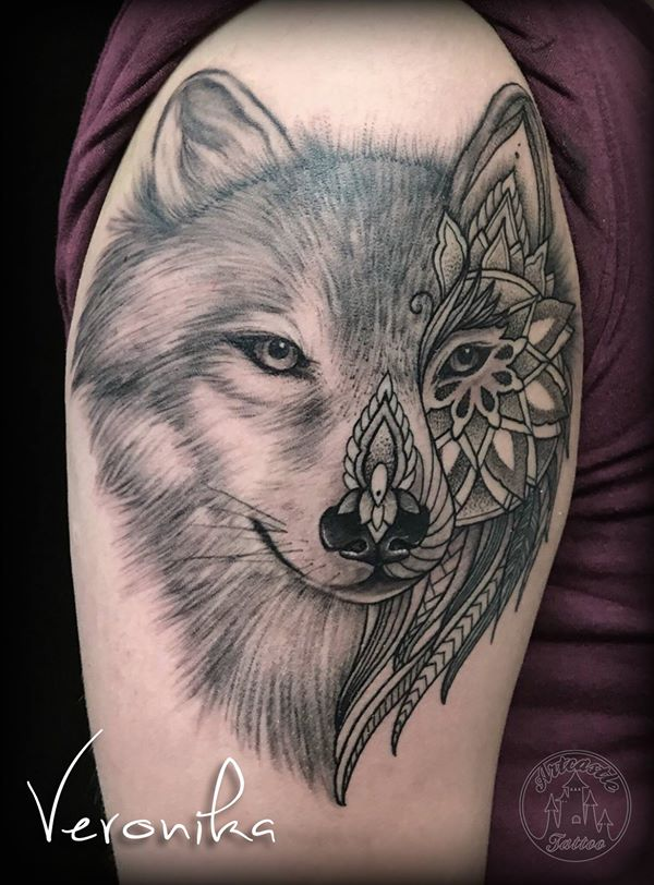 ArtCastleTattoo Tattoo ArtiestVeronika wolf and mandala on arm. black n grey black n grey