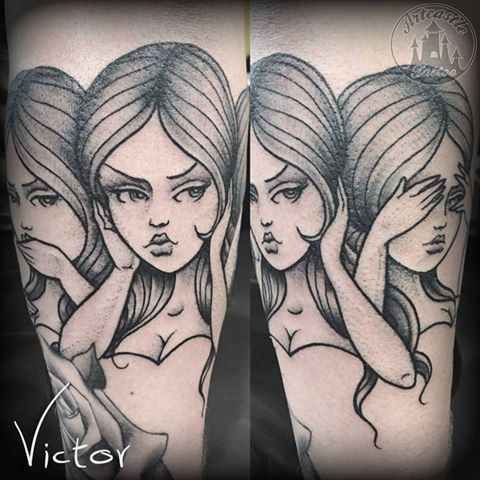 ArtCastleTattoo Tattoo ArtiestVictor Girls speak hear see no evil tattoo lower arm Traditioneel Traditional