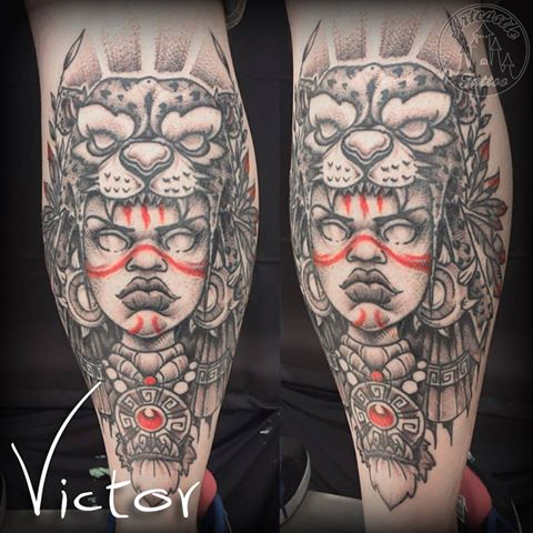 ArtCastleTattoo Tattoo ArtiestVictor Inca Woman Tiger head lower leg Neo Traditioneel Neo Traditional