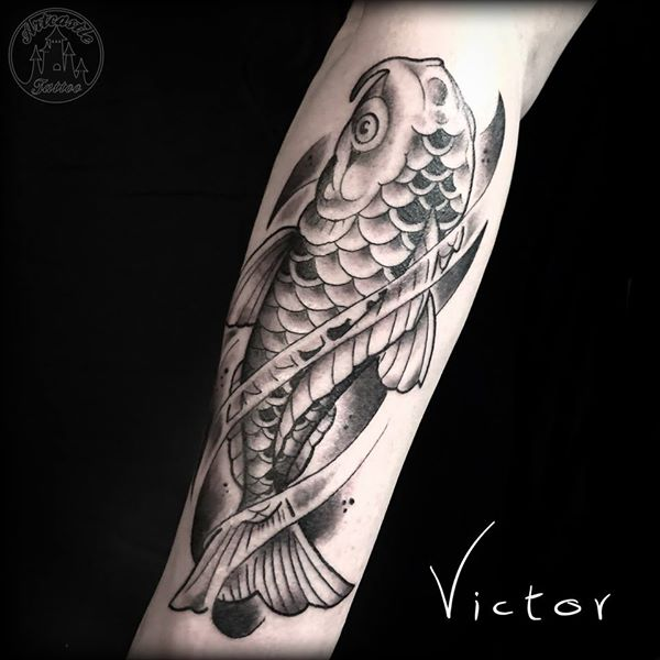 ArtCastleTattoo Tattoo ArtiestVictor Koi fish on lower arm Japans Japanese