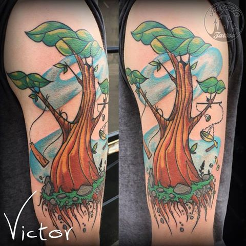 ArtCastleTattoo Tattoo ArtiestVictor New school tree tattoo on upper arm Kleur Color