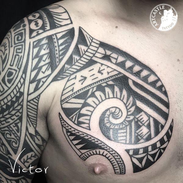 ArtCastleTattoo Tattoo ArtiestVictor Polynesian on chest Maori