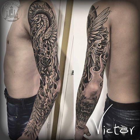 ArtCastleTattoo Tattoo ArtiestVictor Swan rose skull flames tattoo Full sleeve Neo Traditioneel Neo Traditional