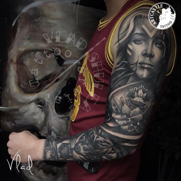 ArtCastleTattoo Tattoo ArtiestVlad Black n Grey realism sleave